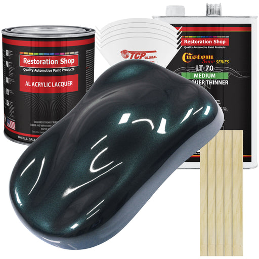 Dark Turquoise Metallic - Acrylic Lacquer Auto Paint - Complete Gallon Paint Kit with Medium Thinner - Professional Gloss Automotive, Car, Truck, Guitar & Furniture Refinish Coating