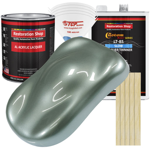 Slate Green Metallic - Acrylic Lacquer Auto Paint - Complete Gallon Paint Kit with Slow Dry Thinner - Professional Gloss Automotive, Car, Truck, Guitar, Furniture Refinish Coating