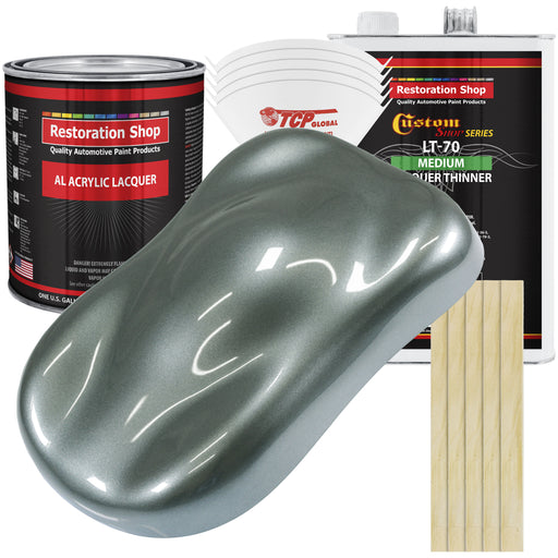 Steel Gray Metallic - Acrylic Lacquer Auto Paint - Complete Gallon Paint Kit with Medium Thinner - Professional Gloss Automotive, Car, Truck, Guitar & Furniture Refinish Coating