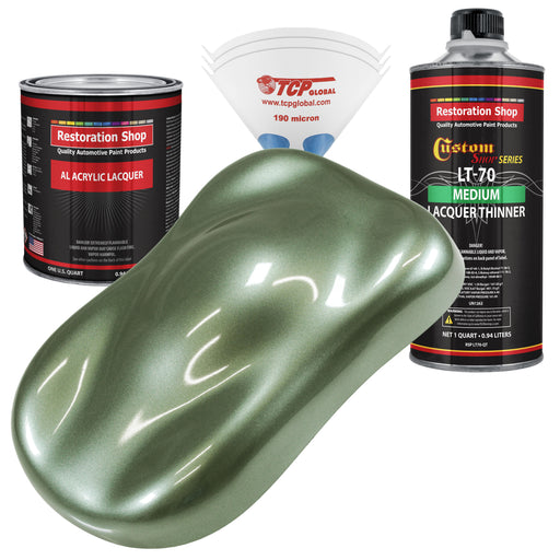 Fern Green Metallic - Acrylic Lacquer Auto Paint - Complete Quart Paint Kit with Medium Thinner - Professional Gloss Automotive, Car, Truck, Guitar and Furniture Refinish Coating