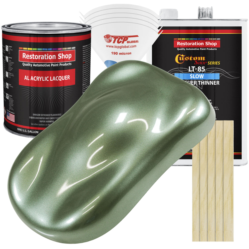Fern Green Metallic - Acrylic Lacquer Auto Paint - Complete Gallon Paint Kit with Slow Dry Thinner - Professional Gloss Automotive, Car, Truck, Guitar, Furniture Refinish Coating
