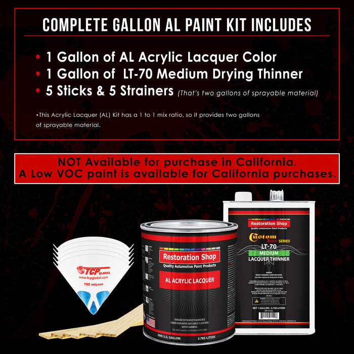 Rally Green Metallic - Acrylic Lacquer Auto Paint - Complete Gallon Paint Kit with Medium Thinner - Professional Gloss Automotive, Car, Truck, Guitar & Furniture Refinish Coating