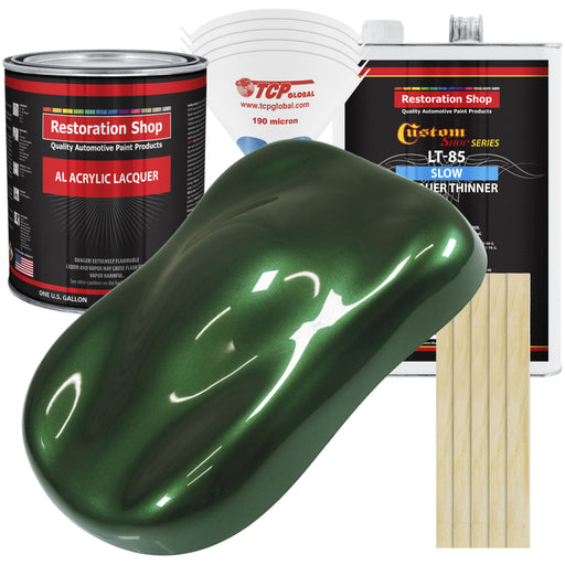 British Racing Green Metallic - Acrylic Lacquer Auto Paint - Complete Gallon Paint Kit with Slow Dry Thinner - Professional Gloss Automotive, Car, Truck, Guitar, Furniture Refinish Coating