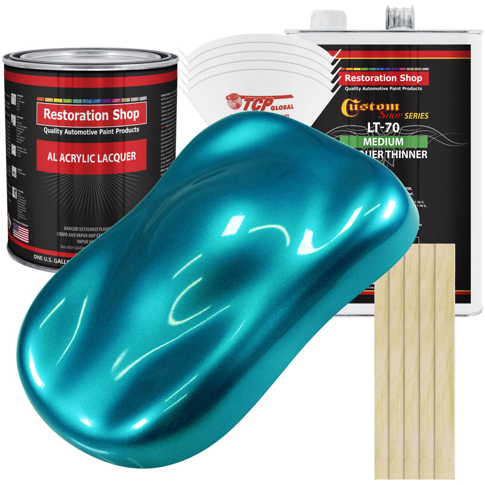 Teal Green Metallic - Acrylic Lacquer Auto Paint - Complete Gallon Paint Kit with Medium Thinner - Professional Gloss Automotive, Car, Truck, Guitar & Furniture Refinish Coating