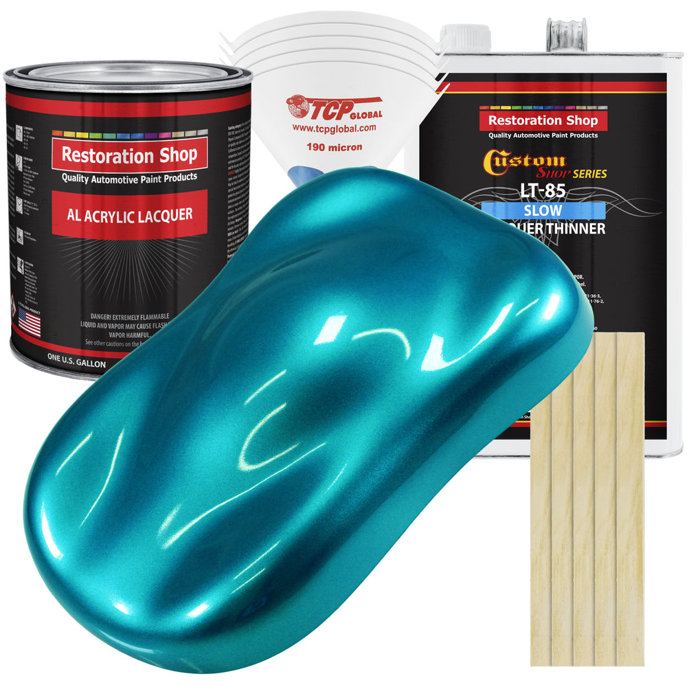 Teal Green Metallic - Acrylic Lacquer Auto Paint - Complete Gallon Paint Kit with Slow Dry Thinner - Professional Gloss Automotive, Car, Truck, Guitar, Furniture Refinish Coating