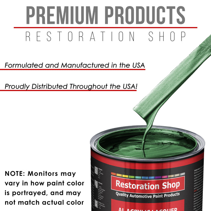Emerald Green Metallic - Acrylic Lacquer Auto Paint - Complete Gallon Paint Kit with Slow Dry Thinner - Professional Gloss Automotive, Car, Truck, Guitar, Furniture Refinish Coating