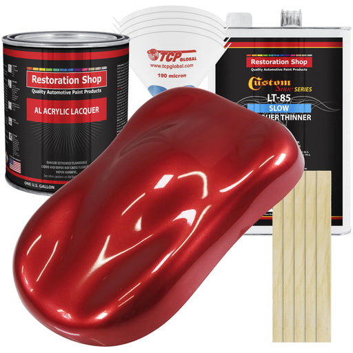 Firethorn Red Pearl - Acrylic Lacquer Auto Paint - Complete Gallon Paint Kit with Slow Dry Thinner - Professional Gloss Automotive, Car, Truck, Guitar, Furniture Refinish Coating