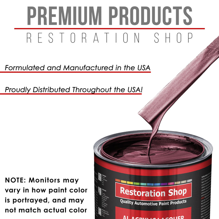 Vintage Burgundy Metallic - Acrylic Lacquer Auto Paint - Complete Quart Paint Kit with Medium Thinner - Professional Gloss Automotive, Car, Truck, Guitar and Furniture Refinish Coating