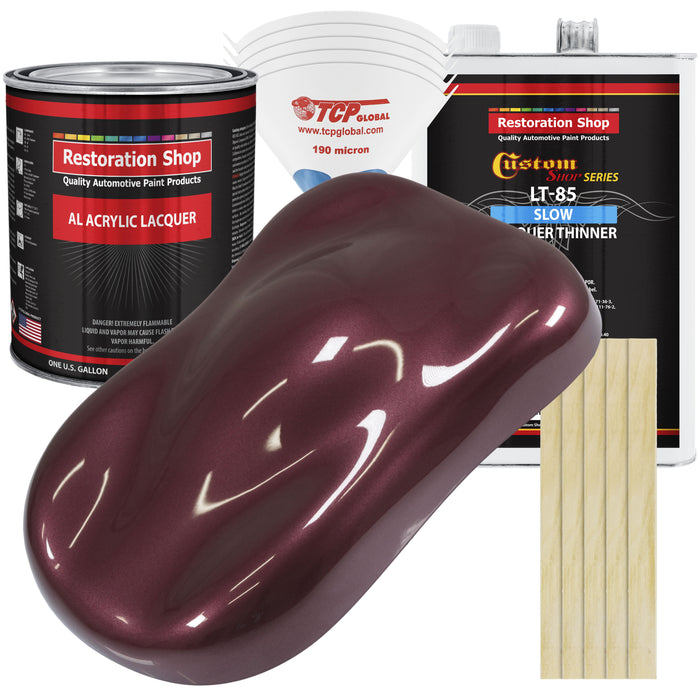 Vintage Burgundy Metallic - Acrylic Lacquer Auto Paint - Complete Gallon Paint Kit with Slow Dry Thinner - Professional Gloss Automotive, Car, Truck, Guitar, Furniture Refinish Coating