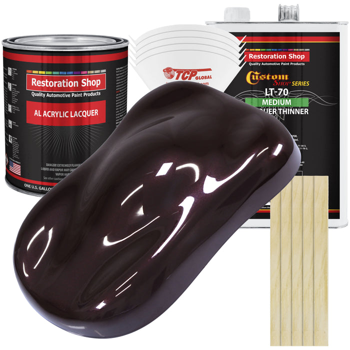 Black Cherry Pearl - Acrylic Lacquer Auto Paint - Complete Gallon Paint Kit with Medium Thinner - Professional Gloss Automotive, Car, Truck, Guitar & Furniture Refinish Coating
