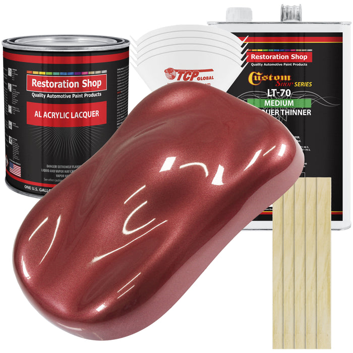 Candy Apple Red Metallic - Acrylic Lacquer Auto Paint - Complete Gallon Paint Kit with Medium Thinner - Professional Gloss Automotive, Car, Truck, Guitar & Furniture Refinish Coating