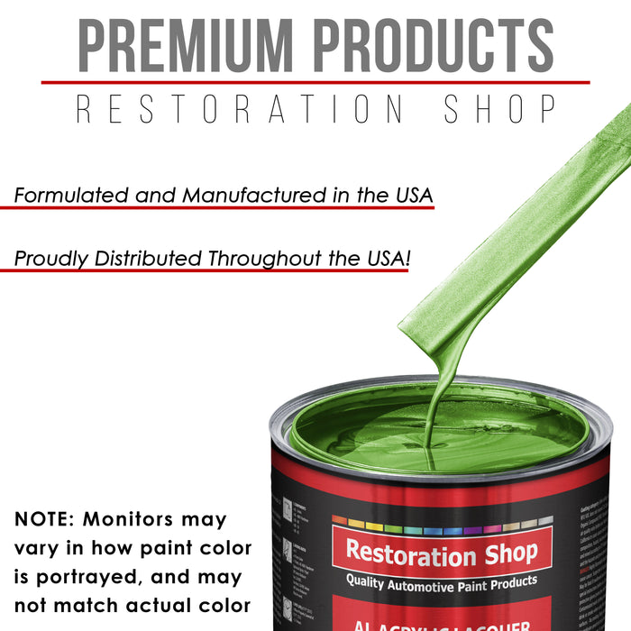 Firemist Lime - Acrylic Lacquer Auto Paint - Complete Quart Paint Kit with Medium Thinner - Professional Gloss Automotive, Car, Truck, Guitar and Furniture Refinish Coating