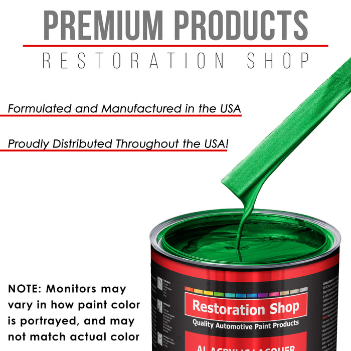 Firemist Green - Acrylic Lacquer Auto Paint - Complete Gallon Paint Kit with Medium Thinner - Professional Gloss Automotive, Car, Truck, Guitar & Furniture Refinish Coating