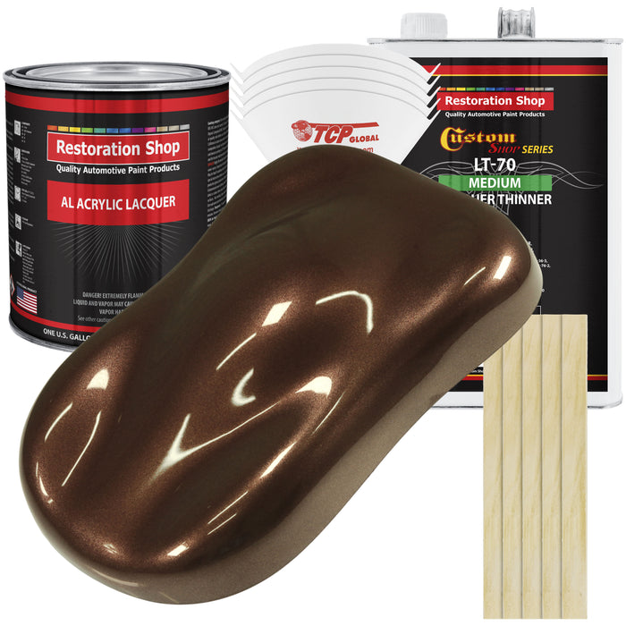 Saddle Brown Firemist - Acrylic Lacquer Auto Paint - Complete Gallon Paint Kit with Medium Thinner - Professional Gloss Automotive, Car, Truck, Guitar & Furniture Refinish Coating