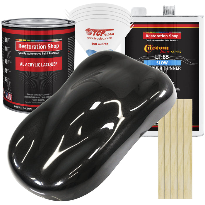 Black Diamond Firemist - Acrylic Lacquer Auto Paint - Complete Gallon Paint Kit with Slow Dry Thinner - Professional Gloss Automotive, Car, Truck, Guitar, Furniture Refinish Coating