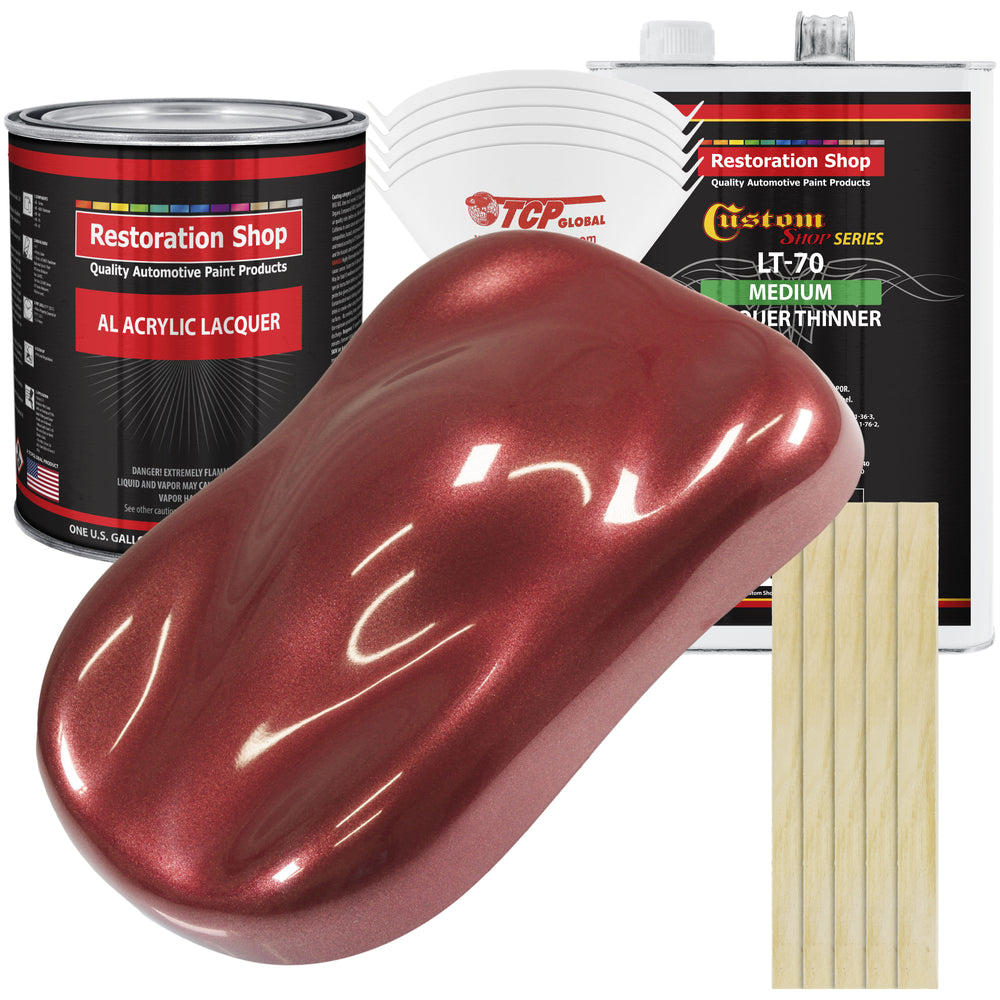 Firemist Red - Acrylic Lacquer Auto Paint - Complete Gallon Paint Kit with Medium Thinner - Professional Gloss Automotive, Car, Truck, Guitar & Furniture Refinish Coating