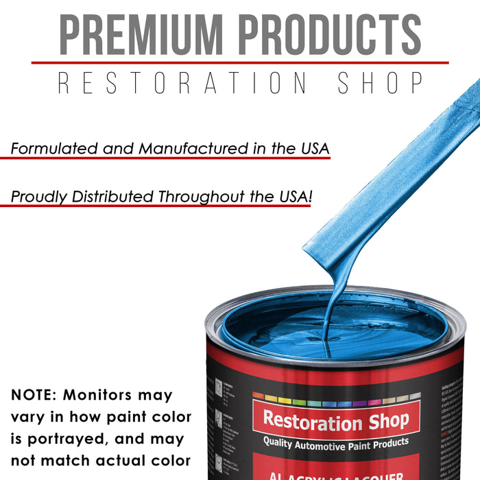 True Blue Firemist - Acrylic Lacquer Auto Paint - Complete Quart Paint Kit with Medium Thinner - Professional Gloss Automotive, Car, Truck, Guitar and Furniture Refinish Coating