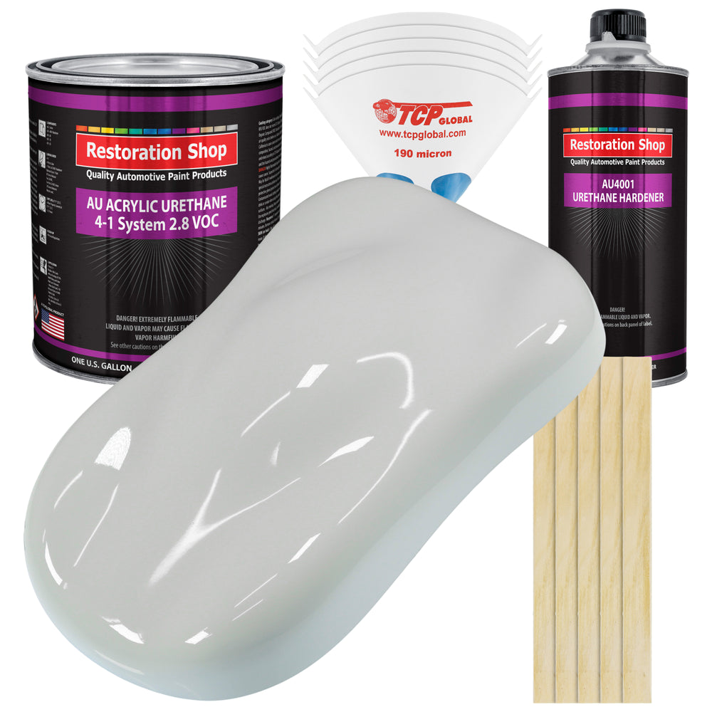 Classic White Acrylic Urethane Auto Paint - Complete Gallon Paint Kit - Professional Single Stage High Gloss Automotive, Car, Truck Coating, 4:1 Mix Ratio 2.8 VOC