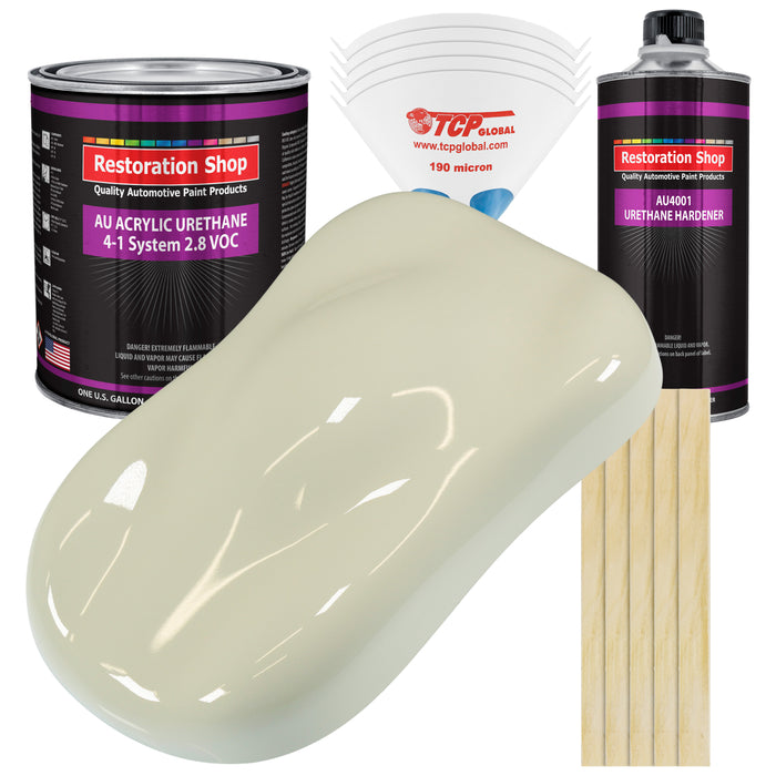 Grand Prix White Acrylic Urethane Auto Paint - Complete Gallon Paint Kit - Professional Single Stage High Gloss Automotive, Car, Truck Coating, 4:1 Mix Ratio 2.8 VOC