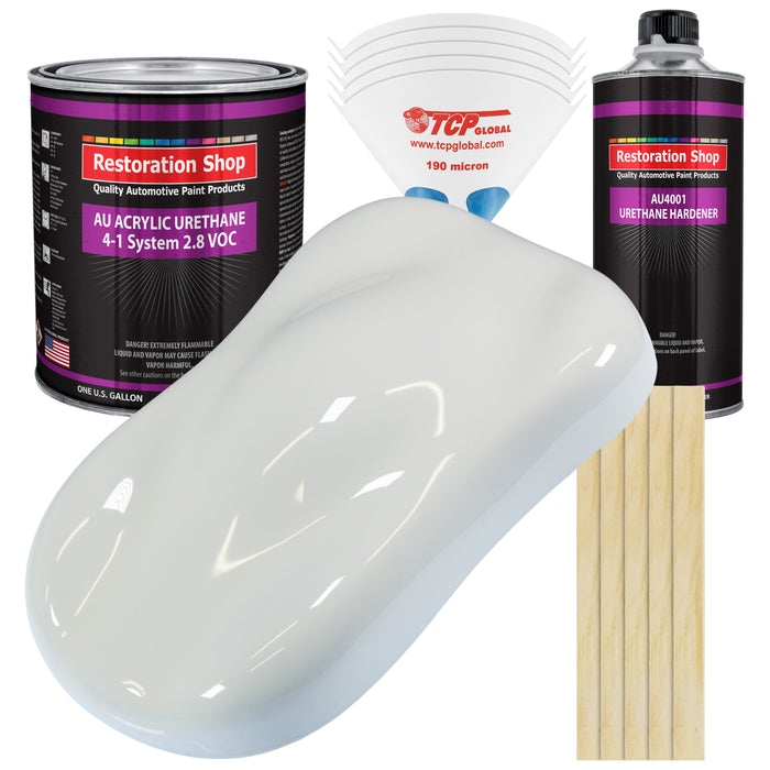 Cameo White Acrylic Urethane Auto Paint - Complete Gallon Paint Kit - Professional Single Stage High Gloss Automotive, Car, Truck Coating, 4:1 Mix Ratio 2.8 VOC