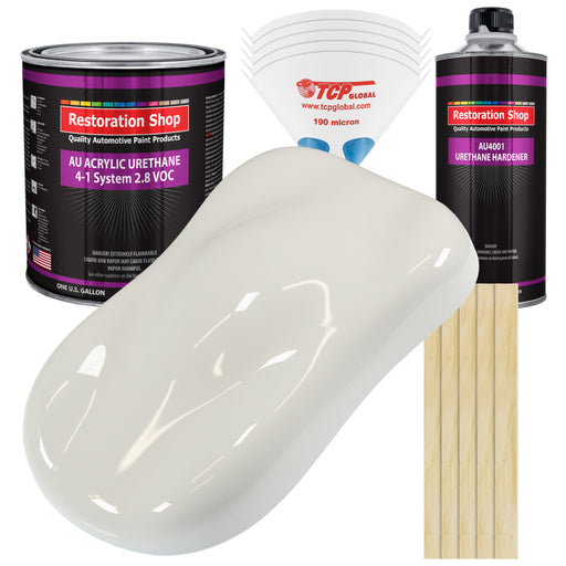 Wispy White Acrylic Urethane Auto Paint - Complete Gallon Paint Kit - Professional Single Stage High Gloss Automotive, Car, Truck Coating, 4:1 Mix Ratio 2.8 VOC