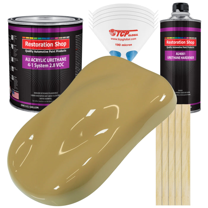 Buckskin Tan Acrylic Urethane Auto Paint - Complete Gallon Paint Kit - Professional Single Stage High Gloss Automotive, Car, Truck Coating, 4:1 Mix Ratio 2.8 VOC