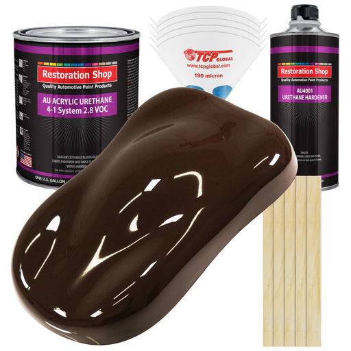 Dakota Brown Acrylic Urethane Auto Paint - Complete Gallon Paint Kit - Professional Single Stage High Gloss Automotive, Car, Truck Coating, 4:1 Mix Ratio 2.8 VOC