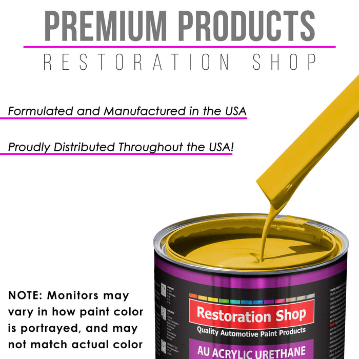 Boss Yellow Acrylic Urethane Auto Paint - Complete Quart Paint Kit - Professional Single Stage High Gloss Automotive, Car, Truck Coating, 4:1 Mix Ratio 2.8 VOC