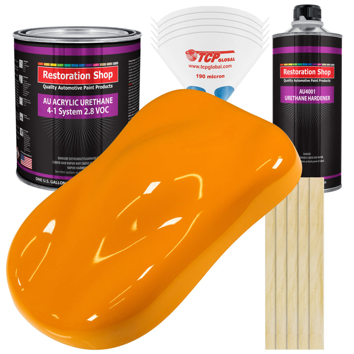 Speed Yellow Acrylic Urethane Auto Paint - Complete Gallon Paint Kit - Professional Single Stage High Gloss Automotive, Car, Truck Coating, 4:1 Mix Ratio 2.8 VOC