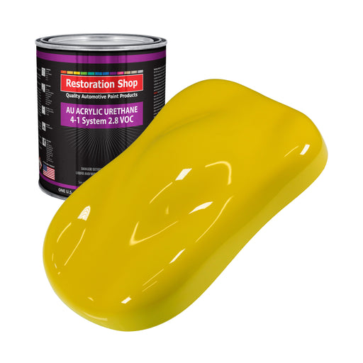 Electric Yellow Acrylic Urethane Auto Paint - Gallon Paint Color Only - Professional Single Stage High Gloss Automotive, Car, Truck Coating, 2.8 VOC
