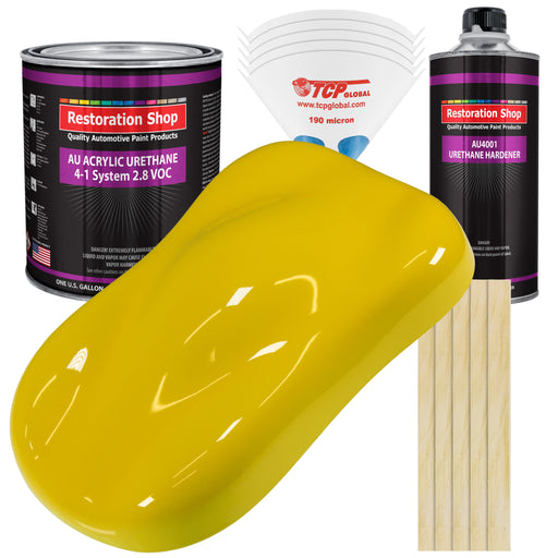 Electric Yellow Acrylic Urethane Auto Paint - Complete Gallon Paint Kit - Professional Single Stage High Gloss Automotive, Car, Truck Coating, 4:1 Mix Ratio 2.8 VOC