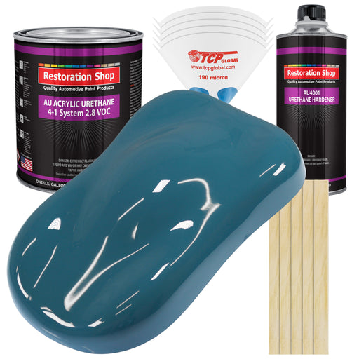 Medium Blue Acrylic Urethane Auto Paint - Complete Gallon Paint Kit - Professional Single Stage High Gloss Automotive, Car, Truck Coating, 4:1 Mix Ratio 2.8 VOC