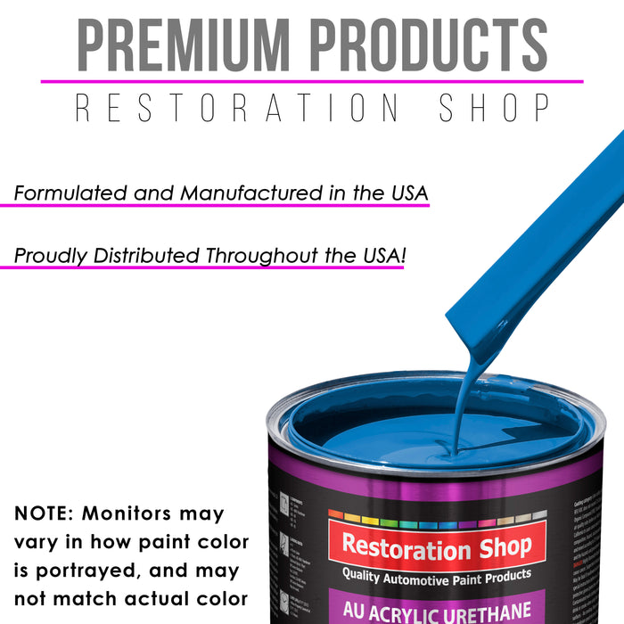 Speed Blue Acrylic Urethane Auto Paint - Complete Quart Paint Kit - Professional Single Stage High Gloss Automotive, Car, Truck Coating, 4:1 Mix Ratio 2.8 VOC
