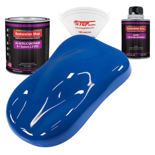 Reflex Blue Acrylic Urethane Auto Paint - Complete Quart Paint Kit - Professional Single Stage High Gloss Automotive, Car, Truck Coating, 4:1 Mix Ratio 2.8 VOC