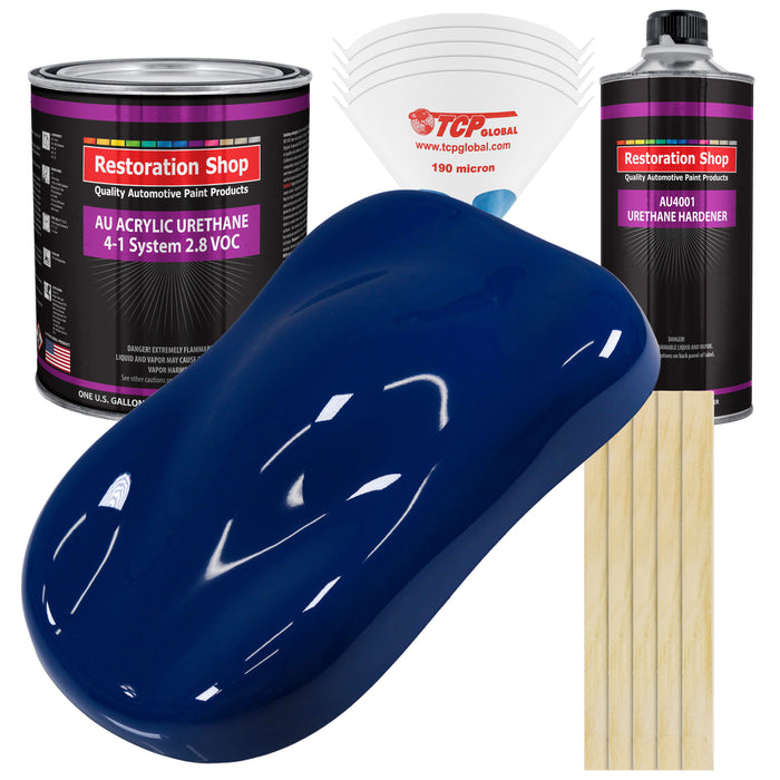 Marine Blue Acrylic Urethane Auto Paint - Complete Gallon Paint Kit - Professional Single Stage High Gloss Automotive, Car, Truck Coating, 4:1 Mix Ratio 2.8 VOC