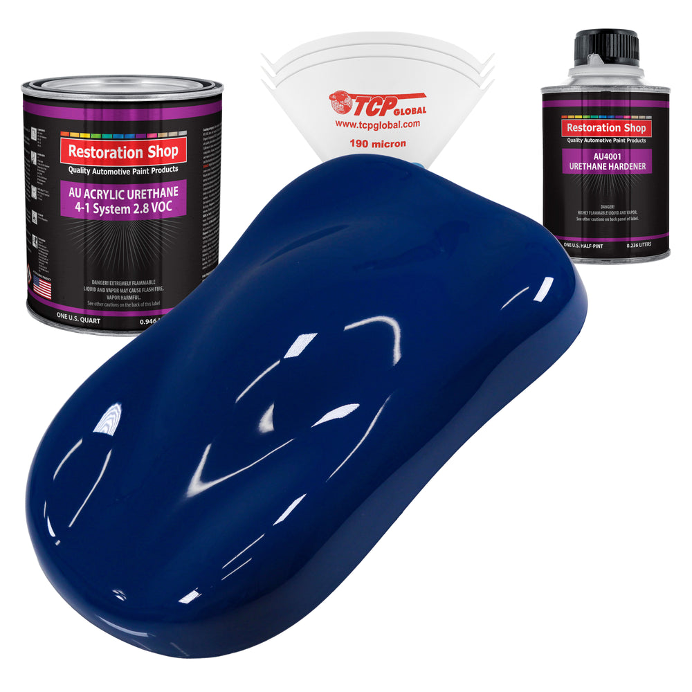 Marine Blue Acrylic Urethane Auto Paint - Complete Quart Paint Kit - Professional Single Stage High Gloss Automotive, Car, Truck Coating, 4:1 Mix Ratio 2.8 VOC