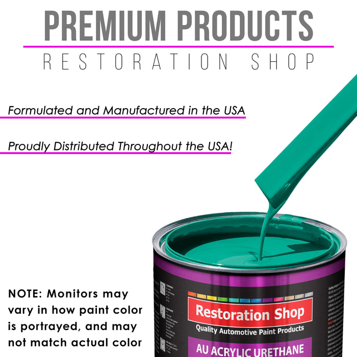 Tropical Turquoise Acrylic Urethane Auto Paint - Complete Quart Paint Kit - Professional Single Stage High Gloss Automotive, Car, Truck Coating, 4:1 Mix Ratio 2.8 VOC
