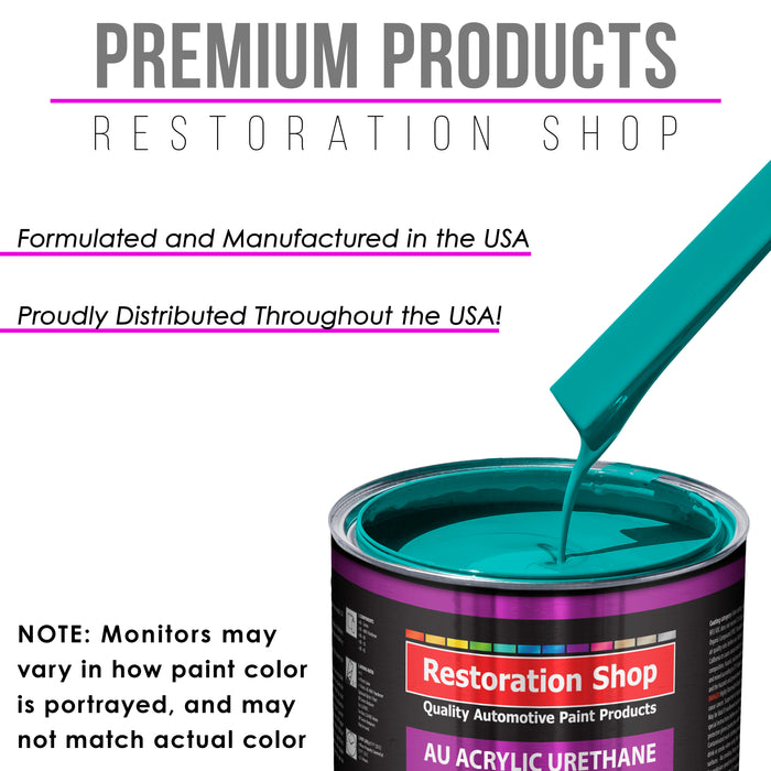 Deep Aqua Acrylic Urethane Auto Paint - Complete Gallon Paint Kit - Professional Single Stage High Gloss Automotive, Car, Truck Coating, 4:1 Mix Ratio 2.8 VOC