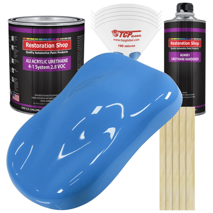 Grabber Blue Acrylic Urethane Auto Paint - Complete Gallon Paint Kit - Professional Single Stage High Gloss Automotive, Car, Truck Coating, 4:1 Mix Ratio 2.8 VOC