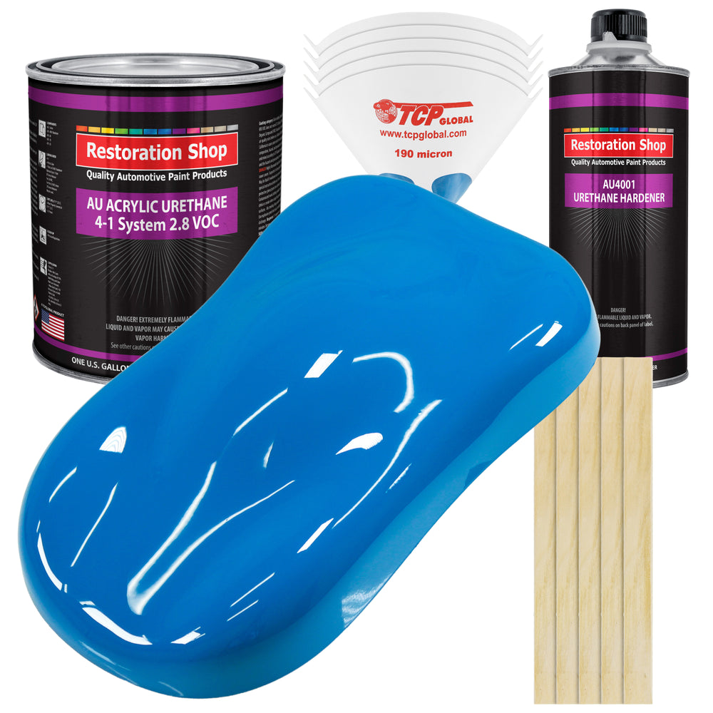 Coastal Highway Blue Acrylic Urethane Auto Paint - Complete Gallon Paint Kit - Professional Single Stage High Gloss Automotive, Car, Truck Coating, 4:1 Mix Ratio 2.8 VOC