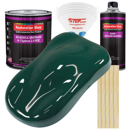 Woodland Green Acrylic Urethane Auto Paint - Complete Gallon Paint Kit - Professional Single Stage High Gloss Automotive, Car, Truck Coating, 4:1 Mix Ratio 2.8 VOC