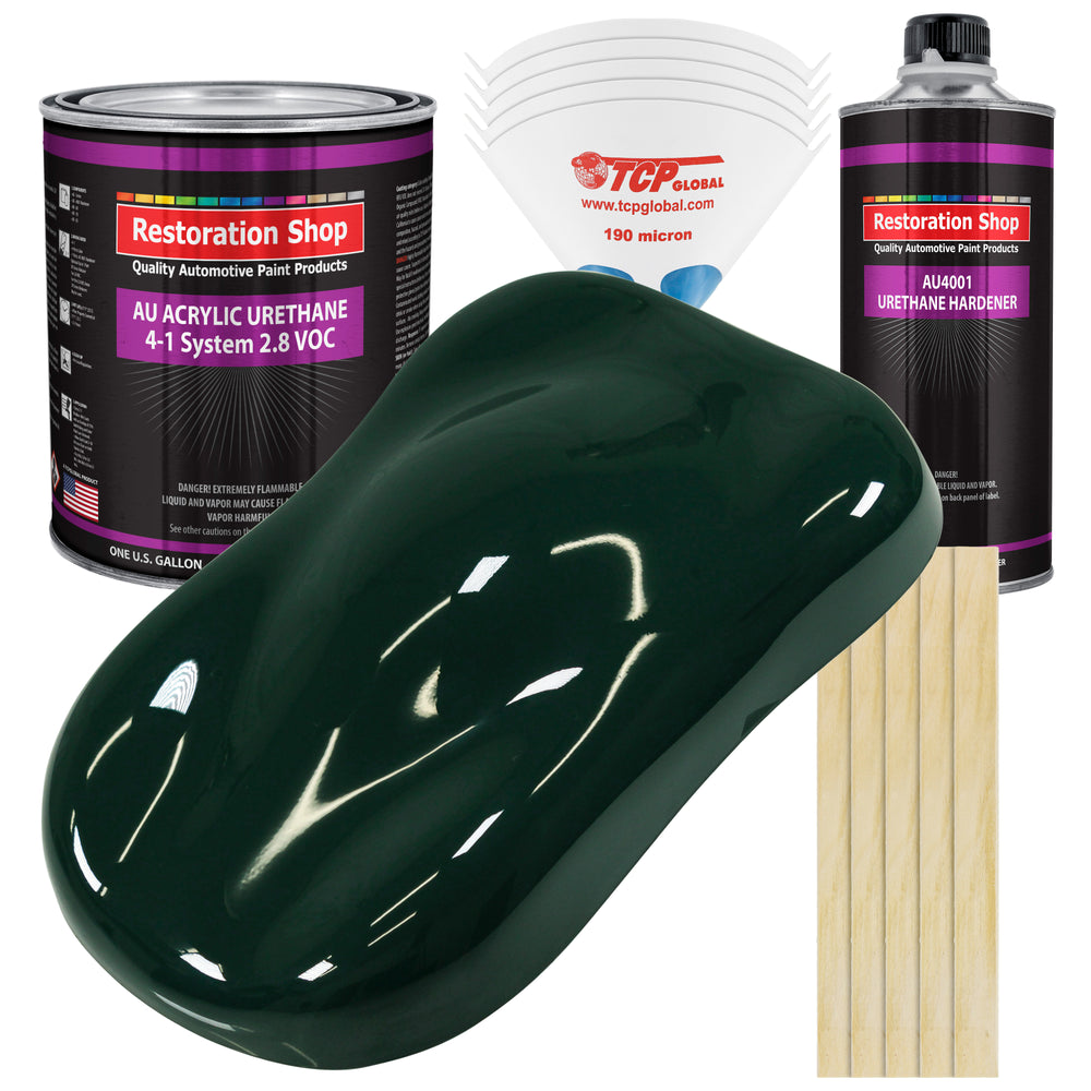 British Racing Green Acrylic Urethane Auto Paint - Complete Gallon Paint Kit - Professional Single Stage High Gloss Automotive, Car, Truck Coating, 4:1 Mix Ratio 2.8 VOC