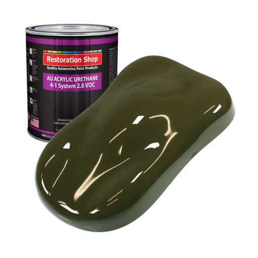 Olive Drab Green Acrylic Urethane Auto Paint - Gallon Paint Color Only - Professional Single Stage High Gloss Automotive, Car, Truck Coating, 2.8 VOC