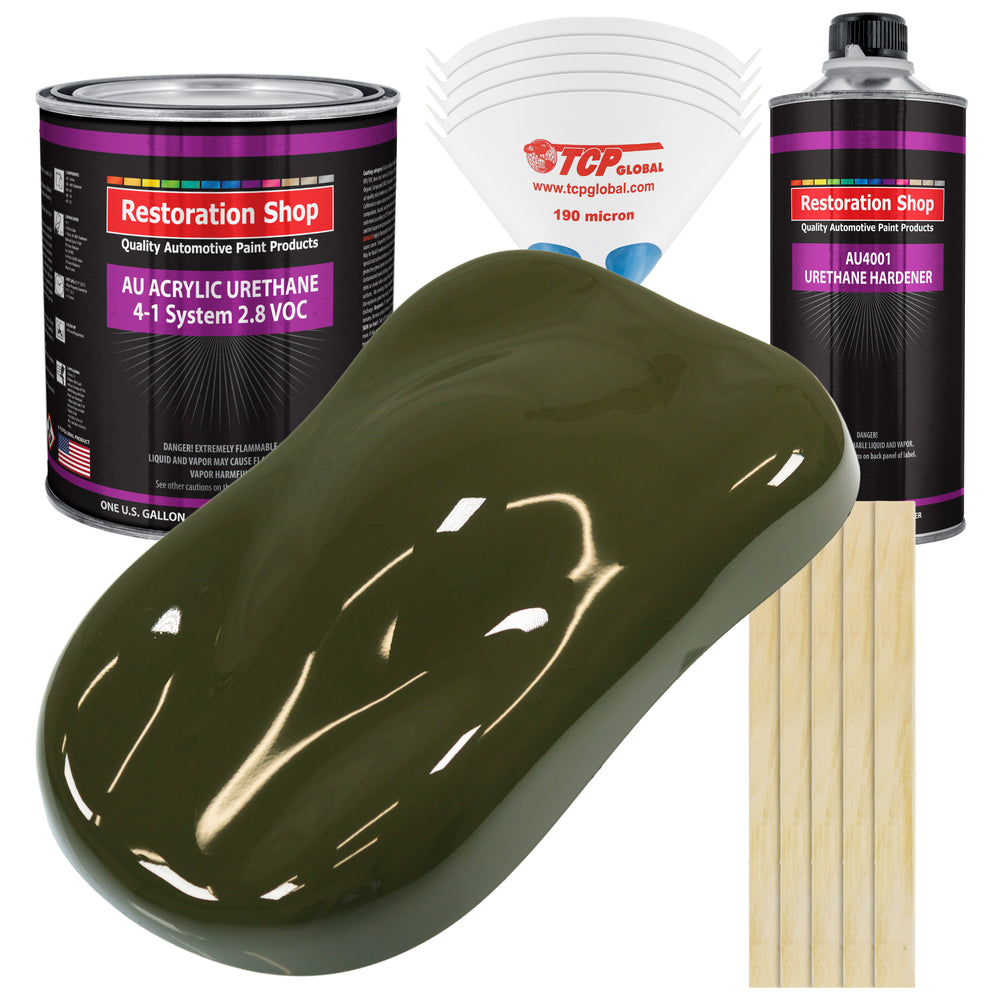 Olive Drab Green Acrylic Urethane Auto Paint - Complete Gallon Paint Kit - Professional Single Stage High Gloss Automotive, Car, Truck Coating, 4:1 Mix Ratio 2.8 VOC