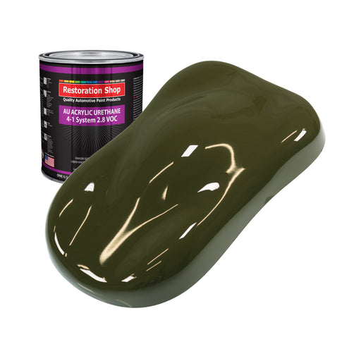 Olive Drab Green Acrylic Urethane Auto Paint - Quart Paint Color Only - Professional Single Stage High Gloss Automotive, Car, Truck Coating, 2.8 VOC