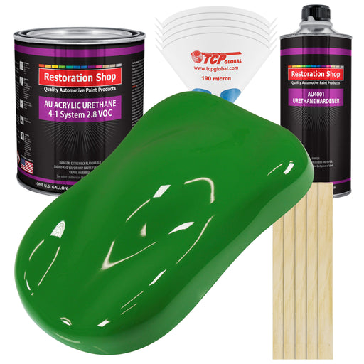 Vibrant Lime Green Acrylic Urethane Auto Paint - Complete Gallon Paint Kit - Professional Single Stage High Gloss Automotive, Car, Truck Coating, 4:1 Mix Ratio 2.8 VOC