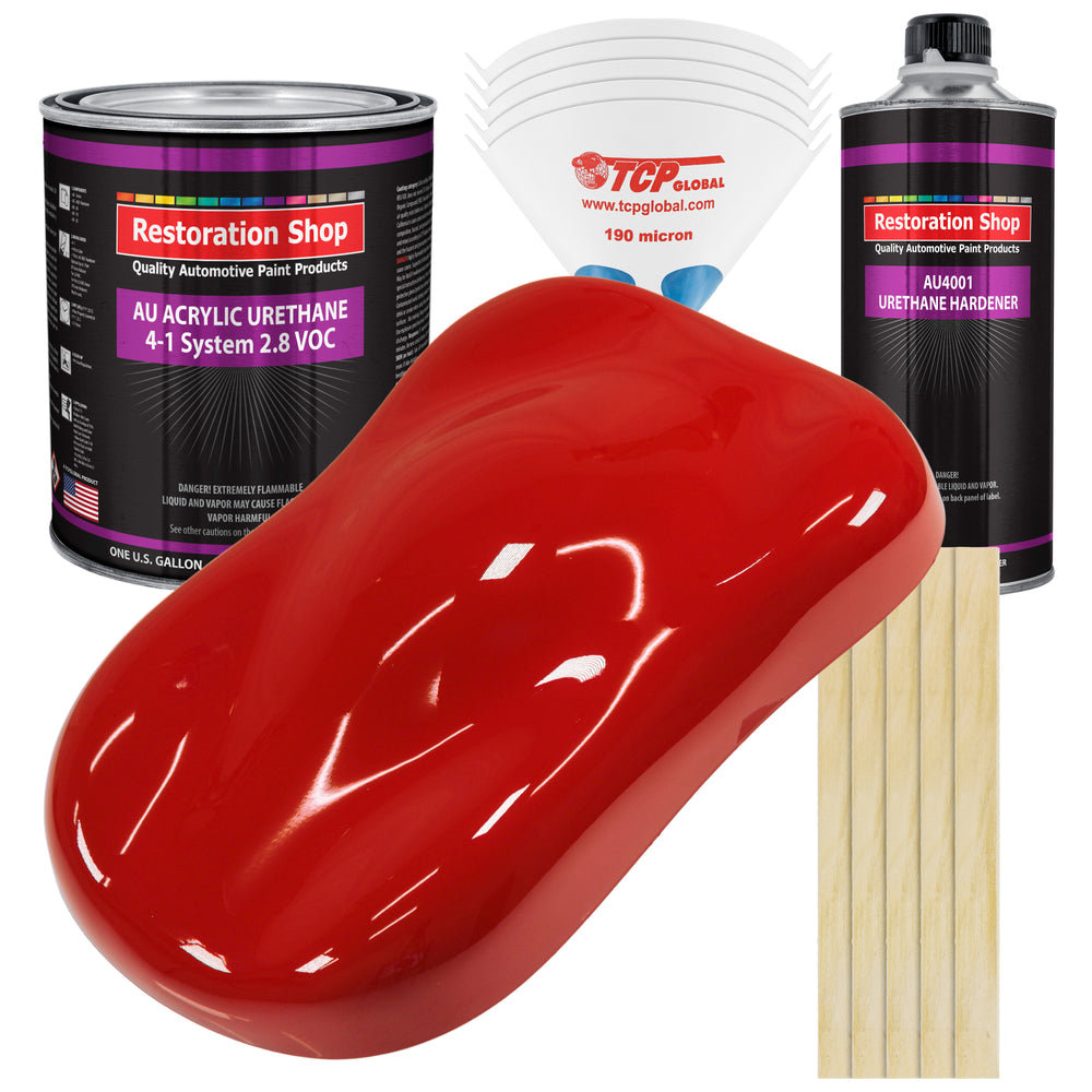 Graphic Red Acrylic Urethane Auto Paint - Complete Gallon Paint Kit - Professional Single Stage High Gloss Automotive, Car, Truck Coating, 4:1 Mix Ratio 2.8 VOC