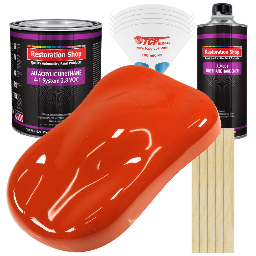 Tractor Red Acrylic Urethane Auto Paint - Complete Gallon Paint Kit - Professional Single Stage High Gloss Automotive, Car, Truck Coating, 4:1 Mix Ratio 2.8 VOC