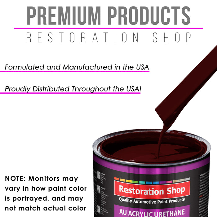 Burgundy Acrylic Urethane Auto Paint - Complete Quart Paint Kit - Professional Single Stage High Gloss Automotive, Car, Truck Coating, 4:1 Mix Ratio 2.8 VOC