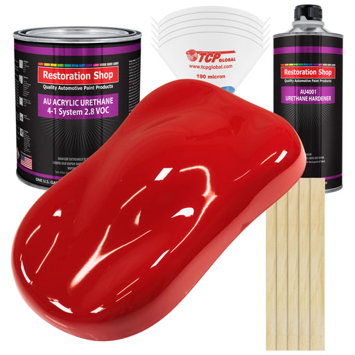 Rally Red Acrylic Urethane Auto Paint - Complete Gallon Paint Kit - Professional Single Stage High Gloss Automotive, Car, Truck Coating, 4:1 Mix Ratio 2.8 VOC